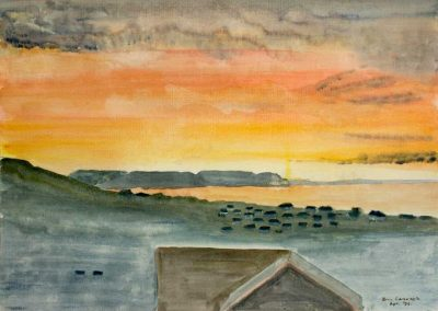 'Lyme Bay Sunrise' (1) - Original Painting on Card. 40 x 30cm.