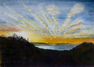 'Lyme Sunrise (2)' - Original Painting on Card. 40 x 30cm