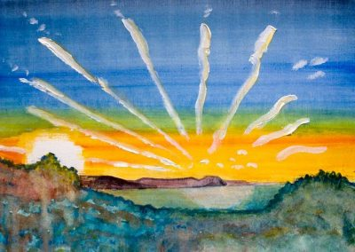 'Lyme Sunrise (1)' - Original Painting on Card. 40 x 30cm