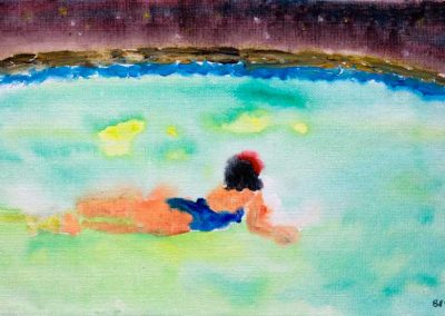 'MIdnoight Swim' - Pearl in a Pool in Bequia. Original Painting on Card. 30 x 20cm