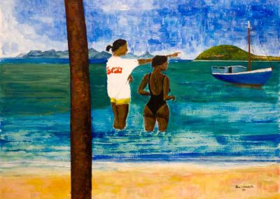 'Over There' - Looking toward Petit St Vincent. Original Painting on Card. 40 x 30cm
