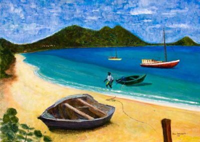 'Paradise Beach' - Aptly Named Beach in Carriacou. Original Painting on Card. 40 x 30cm