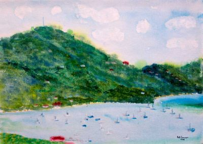 'Port Elizabeth Bequia' - Original Painting on Canvas Weave. 40 x 30cm