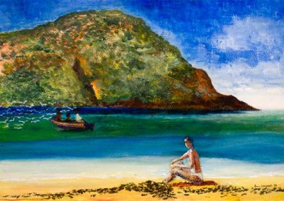 'Red Towel' - Paradise Beach Carriacou. Original Painting on Card. 40 x 30cm