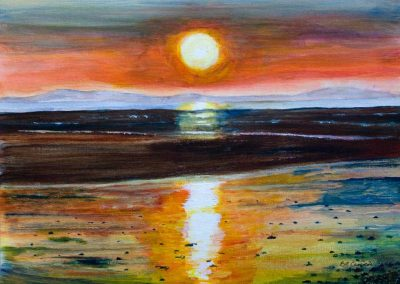 'Solway Sunset' - from Beckfoot, Cumbria. Original Painting on Card. 40 x 30cm