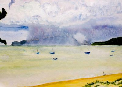 'Storm Over Union' - Cloud Burst over Union Island. Original Painting on Canvas Weave. 40 x 30cm