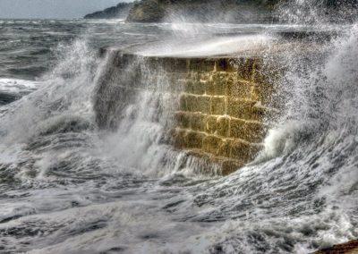 Storm Waves Crash over The Cobb Lyme Regis