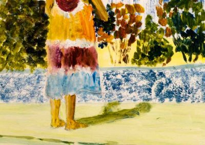 'Washing Day' - Gracie at work at home. Original Painting on Card. 20 x 30cm.
