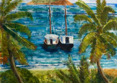 'Windward Traders' - Trading Vessels at Windward, Carriacou. Original Painting on Card. 30 x 40cm