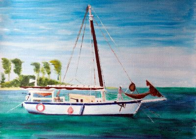 'Mermaid at Anchor' - Off Sandy Island, Carriacou. Acrylic on Card. 40 x 30cm