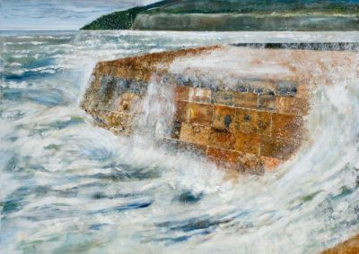 'Storming the Cobb' - Original Painting. Acrylic on Canvas. 60 x 45cm