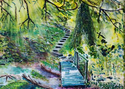 Stairway to Devon. Mixed Media on Canvas frame - 30x24cm.