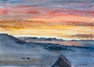 Lyme Bay Sunrise (1) - 40x30cm - Original Painting on Card