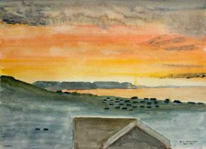 Lyme Bay Sunrise (2) - 40x30cm - Original Painting on Card