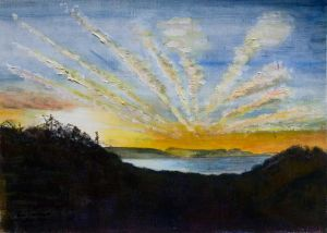 Lyme Sunrise (1) - 40x30cm - Original Painting on Card