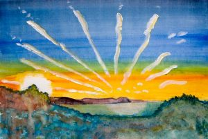 Lyme Sunrise (2) - 40x30cm - Original Painting on Card