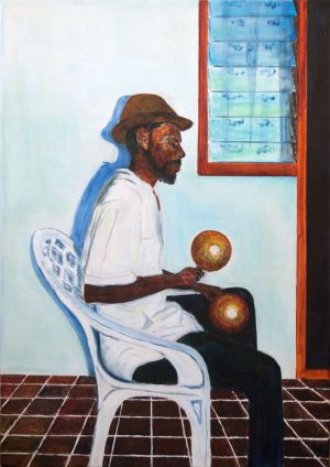Boxing Day Serenader in Carriacou. Private commission. Acrylic on canvas 70x50cm.