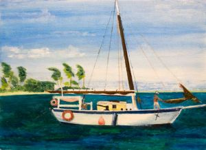 Mermaid - 40x30cm - Original Painting on Card