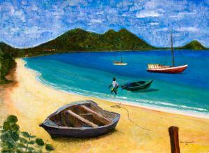 Paradise Beach - 40x30cm - Original Painting on Card