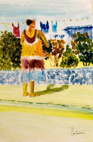 Washing Day - 20x30cm - Original Painting on Card